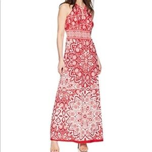 London Times Keyhole Halter Inset Waist Red Maxi